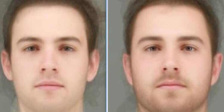 Average faces of the men who were least (left) and most (right) open to casual, short-term connections.