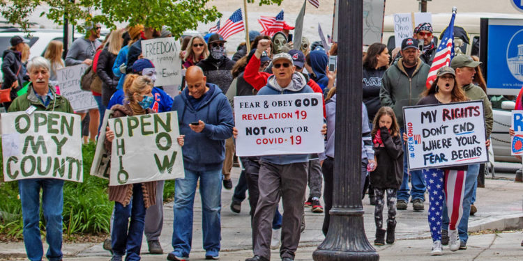 """""""Freedom Or Bust"""" rally at Ohio Statehouse on May 1, 2020. (Photo credit: Paul Becker)"""